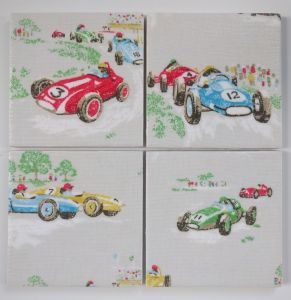 4 Ceramic Coasters in Cath Kidston Vintage Racing Cars Novelty Gift